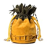 Jyouhin Damen Tasche Eimer Handtasche Kordelzug Kleine Mattglasbirne Umhängetasche Mädchen Ananas Schultertasche (Gelb)