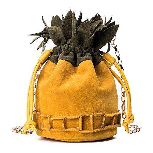 Jyouhin Damen Tasche Eimer Handtasche Kordelzug Kleine Mattglasbirne Umhängetasche Mädchen Ananas Schultertasche (Gelb) (Stoff-handtaschen Gelbe)