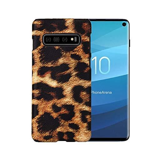 Leopard Fashion Tasche (Fusicase Schutzhülle für Galaxy S10 Leopard Case Fashion Luxus Leopard Skin Muster Tasche für Samsung Galaxy S10 Hülle Ultra Dünn Hard PC Case für Galaxy S10 Braun, Galaxy S10, braun)