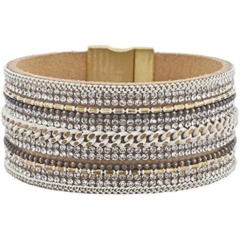 Lux accessori bianco Multi pietra di cristallo catena Oro tono ruggine braccialetto magnetico
