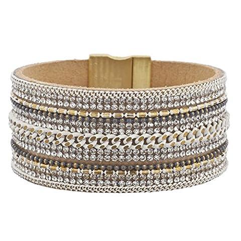 Lux Accessoires Blanc Multi chaîne en pierre de Cristal Ton Or Bracelet magnétique rouille