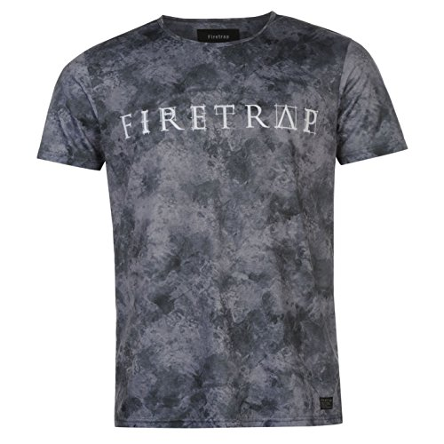 Firetrap Herren Sub T Shirt Kurzarm Rundhals Grafik Print Motiv Freizeit AOP LL