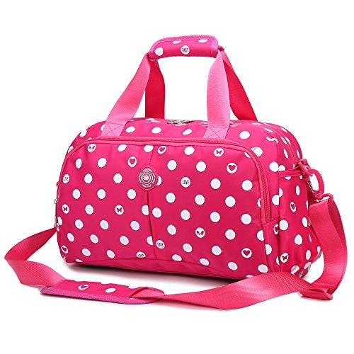 AOKE 20L Kleine Reisetasche Weekender Tasche mit zwei Griffen und Schultergurt für Mädchen Kurzzeitfahrten Spots Rose Red mit Geschenkschloss