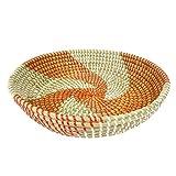 Korbschale Spirale rot-weiß aus Seegras - flach - Fair Trade