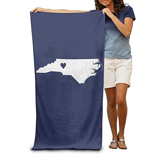 Doormat bag Love in North Carolina State Map Quick-Drying Pool Beach Towel Travel Bath Towel for Adults (Carolina Pool)