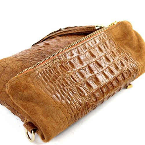 Borsetta in pelle a mano/tracolla in pelle italiana, misura piccola, T54 Dunkelcamel Wildleder/Kroko