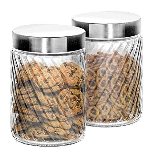 Klikel Glasbehälter, 2 Stück, mit Deckel, dicht verschließbar für Mehl, Zucker, Pasta, Müsli, Fassungsvermögen: 700 ml, 10,8 x 11,4 cm 68oz Set Of 2 68 Oz Jar