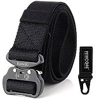 """Cinturón táctico táctico al aire libre cinturón-al aire libre para hombres Heavy Duty ajustable estilo militar Cinturones de nylon con hebilla de aluminio 1.5 """" (Black)"""