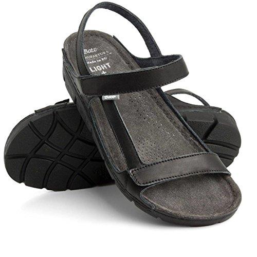 Batz TERKA Damen Hochwertigem Sommer Sandaletten, Sandalen, Lederschuhe, Schuhe Schwarz