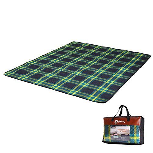 Sekey Waschbare Picknickdecke Extra groß , Wasserdicht Campingdecke für outdoor, bestehend aus drei Schichten (150D Polyester, Baumwolle und 210 D Oxford),210 x 170cm