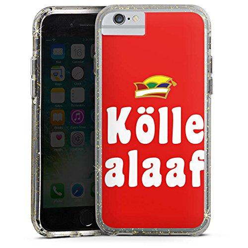Apple iPhone X Bumper Hülle Bumper Case Glitzer Hülle Cologne Karneval Fasching Bumper Case Glitzer gold
