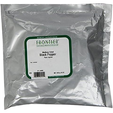 Frontier Pepper, Black Medium Grind Dustless (30 Mesh) L/m, 16 Ounce Bag