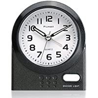 Travel Alarm Clock, Plumeet Non Ticking Analog Alarm Clock with Snooze and Nightlight, Silent Alarm Clock for Bedside, Ascending Sound Alarm, Easy to Set, Mini Sized, Battery Powered (Black)