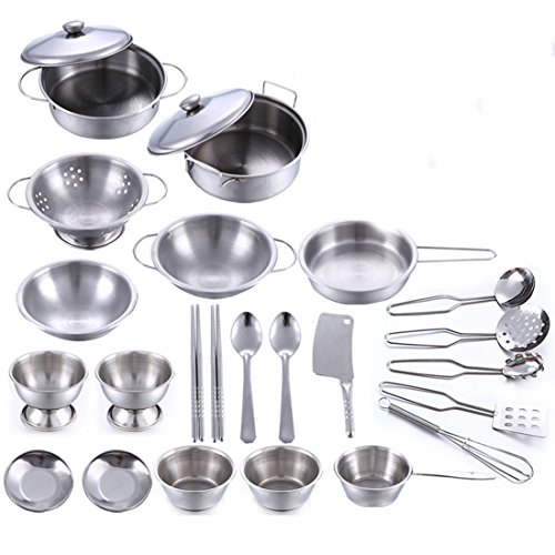 LVPY Cookware Set, 25Pcs Stainless Steel Kitchenware Cookware Kitchen Utensils Children Kids Simulation Cooking Games Playset Cookware Set