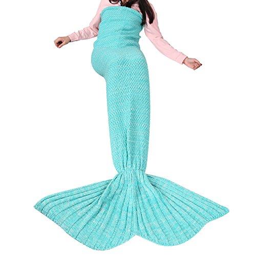 LEADSTAR Meerjungfrau Decke Mermaid Blanket Weiche Gestrickte Fischschwanz Decke Strick Schlafdecke 180x90cm für Erwachsene und Kinder (Grün)