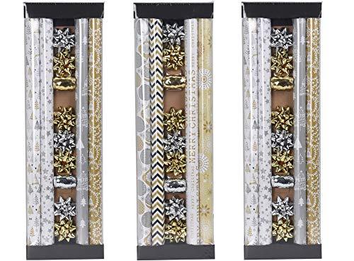 made2trade 3X 13 Teiliges Geschenkpapier-Set - 4X 200x70cm - Weiß-Gold