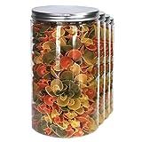 Pack 4 barattolo di plastica alimentare, 1,3 L (18x10cm), contenitori con coperchi in alluminio a vite.