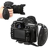 BlueBeach® bracelet en cuir poignée - sûr rembourré dragonne de poignet pour appareil photo SLR DSLR Compatible avec Canon Nikon Pentax Minolta