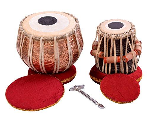 NASIR ALI Tabla Drum Set, Colored Bayan, Finest Dayan with, Hammer, Cushions & Box