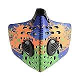 ROCKBROS Staubmaske Halbmaske Sport Atemschutzmaske mit Aktivkohlefilter und Ausatemventil PM2.5 Anti Staub/Smog/Wind (Orange Grün(Zwei Schichten Filter))