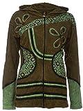 Patchwork-Strickjacke | Hippie-Jacke | Modell Flower Power | Damen | Goa-Jacket | Cutwork | Kapuzen-Sweatjacke | Individuell | Handarbeit aus Nepal (L, Grün)