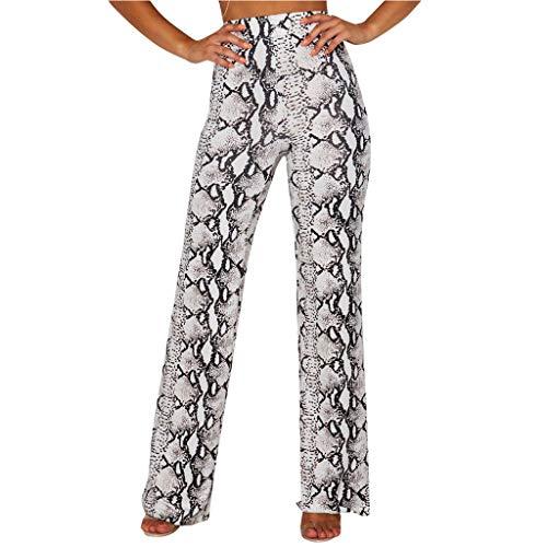 e Print Lange Hosen Hohe Taillenhose Freizeit Hose Atmungsaktiv Seidig Weich Bequem Hose mit weitem Bein Lose Weite Hosen Yoga Lange Hose ()
