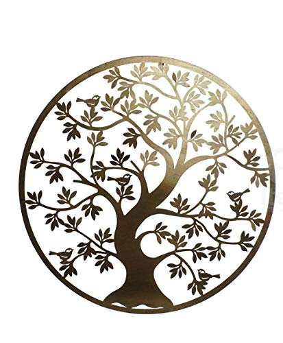 DRW 158144A Aplique Cuadro Redondo Metal árbol Vida