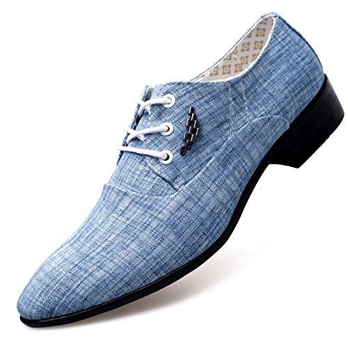 Shoes Men Casual Shoes Spring Summer Men Shoes Canvas Fashion Trend Tie Pointed Breathable Men Party Shoes Light Blue 7.5