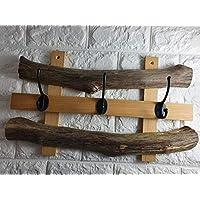 Antique Wooden Driftwood Coat Rack Vintage Handmade Cast Iron Hook