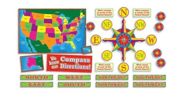 U.S. Map and Compass Directions! Bulletin Board: Amazon.co ...