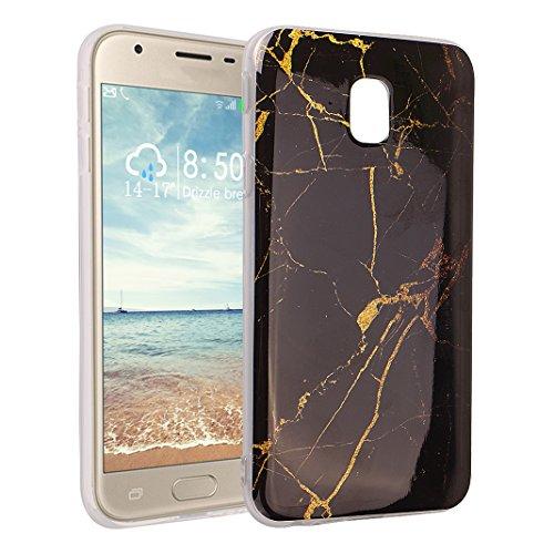 Galaxy J5 2017 Marmor Handyhülle, Asnlove Premium TPU Silikon Marble Hülle Protective Back Case TPU Silicone mit 3D Muster Handy Schutzhülle Cover für Samsung Galaxy J5 2017, Schwarz