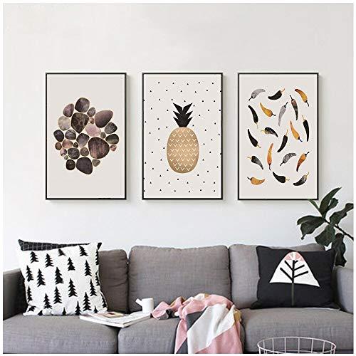adgkitb canvas Küche Dekoration Leinwand Poster Chili Marmor Leinwand Malerei Wandkunst Bild, PinePrint Modern Restaurant Wand Decor30x50cmx3 KEIN Rahmen