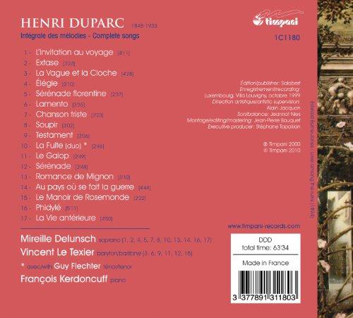 Duparc / Intégrale des Mélodies