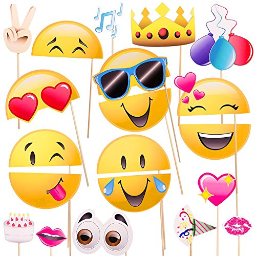 BIEE 20 Stück Emoji-Symbol-Smiley-Gesicht Photo Booth Prop Party-Kit