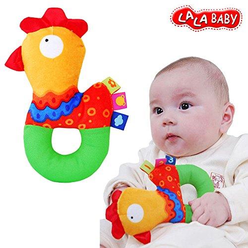 Baby Kleinkind Stoffspielzeug Ring Rasseln Beißring Süße Tiere Glocken Trainning ab 6 Monate Geschenk,Küken (Tennis-küken)