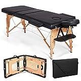 JL Comfurni Table de massage portable 3sections un canapé lit pliant pour tatouage Salon de beauté Thérapie avec cadre en bois–Noir