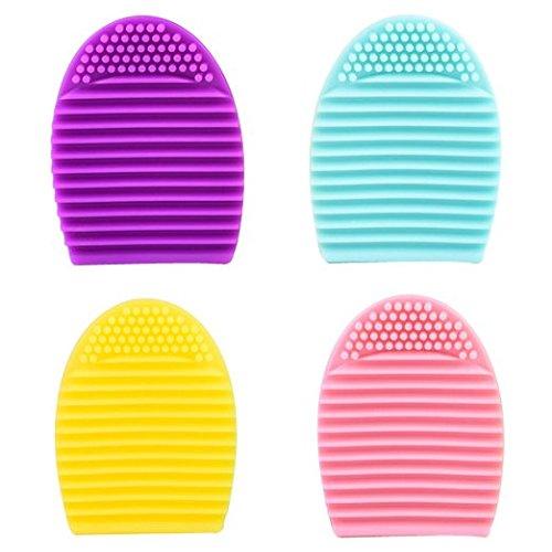 Scrox 4 Pcs Outil de nettoyage de brosse cosmétique Gel de silice Plus propre Blush brosse Pinceau de maquillage Brosse à cils purifier (Couleur Mixte)
