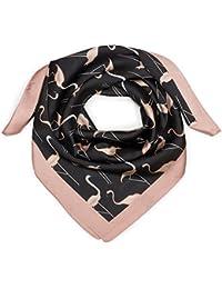 styleBREAKER Petit foulard triangulaire en soie avec imprimé à flamants  roses et bord de couleur différente,… 3eeb3df7332