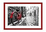 Bild im roten Holzrahmen - Bild im Rahmen - Bild auf Leinwand - Leinwandbilder - Breite: 70cm, Höhe: 50cm - Bildnummer 3186 - zum Aufhängen bereit - Bilder - Kunstdruck - F1RAA70x50-3186