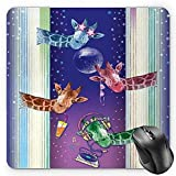 Animal Mouse Pad, Giraffes in a Disco Party Cool Gang with Glasses Music DJ Drinks and Stars ArtworkMulticolor