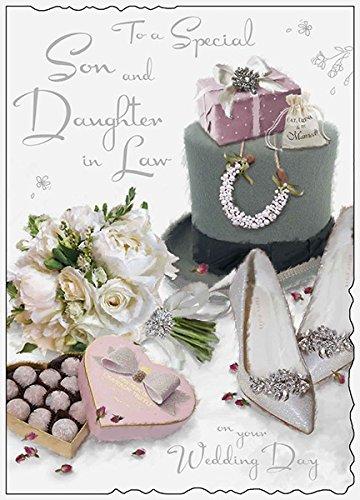 Große Grußkarte (jj8557)-Hochzeit-Son and Daughter In Law-Top Hat, Schuhe und Blumenstrauß-Samt Reichweite-geprägt, Flitter und Folie Finish - Blumensträuße Schuhe