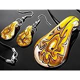 Ecloud Shop® Moda en forma de gotas pendientes del collar colgante hermoso de Murano Lampwork Glass