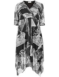 bef6d6cd0 Yours Women's Plus Size London & Black Mesh Midi Dress with Hanky Hem