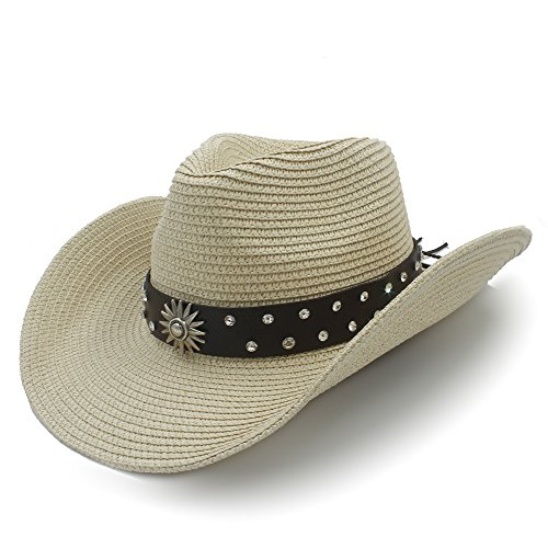 L.J.J Sombrero de Vaquero de Paja para Hombre para Caballero Sombrero Caps WITT Cinturón de Moda (Color : Beige, tamaño : 56-58cm)