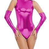 Freebily Damen Stulpen Handschuhe aus Lackleder - Wetlook Metallic Optik Kostüm Rose One Size