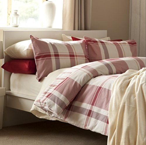 Belledorm Brushed Cotton Boston Check Duvet Cover Set Red (King)