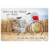 Postkarte Strukturkarton * Lieber mit dem Fahrrad zum Strand als mit dem Auto zur Arbeit