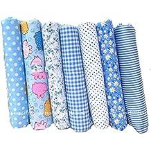 Souarts 7 Stück Stoffpakete DIY Baumwolltuch Patchwork Stoffe Paket 25cmx25cm Hellblau