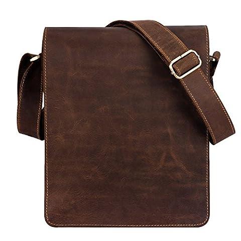 Kattee Genuine Leather Flap-over Messenger Satchel Shoulder Bag Fits Ipad