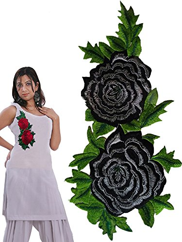 rose embroidered patch for suits and kurtis (Black)